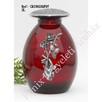 Vörös fém urna rózsaszálat tartó kéz díszítéssel