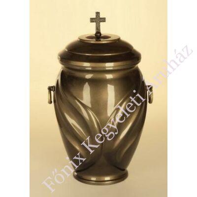 Sötétbarna kő kompozit urna - kereszttel