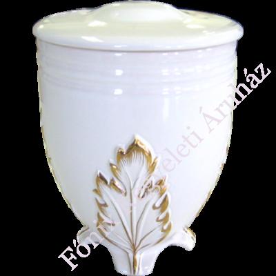 Aranyozott, levél mintás fehér kerámia urna
