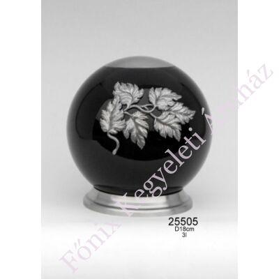 Elegáns fekete urna, falevél díszítéssel
