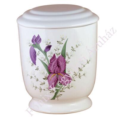 Fehér kerek urna lila virággal