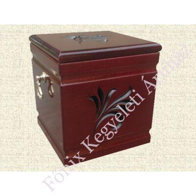 Kocka alakú, bordó, fa urna