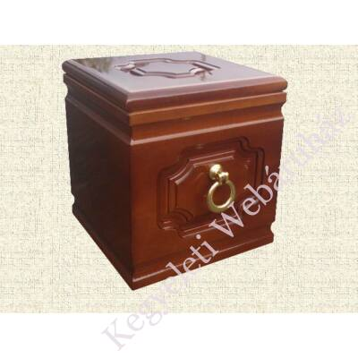 Kocka formájú, kazettás díszítésű, fa urna