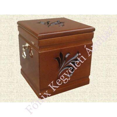 Kocka formájú, liliomos fa urna