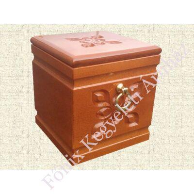 Kocka formájú, virágos fa urna - sötétbarna színben