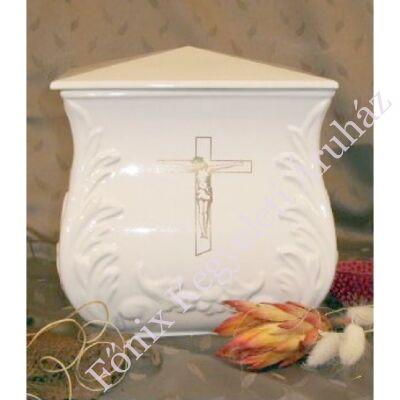 Fehér négyszög urna arany feszülettel