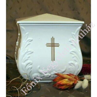 Fehér négyszög urna hármas kereszttel