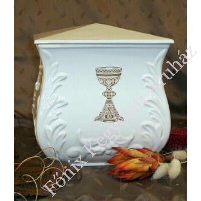 Fehér négyszög urna kehely dekorációval