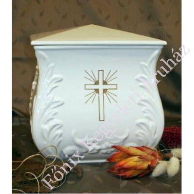 Fehér négyszög urna kereszt dekor