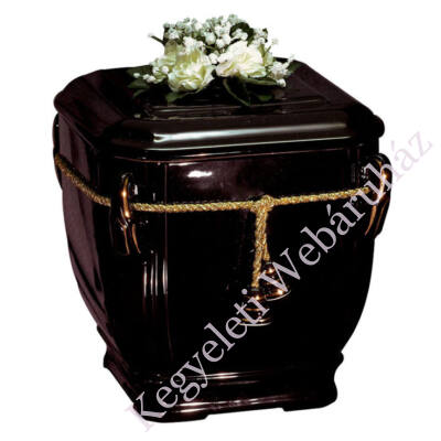 Fekete virágos urna arany zsinórral