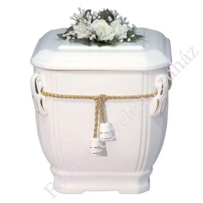 Fehér virágos urna arany zsinórral