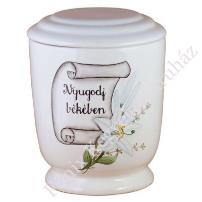 Fehér kerek urna nyugodj békében felirattal