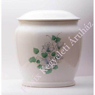 Fehér kerámia urna virággal