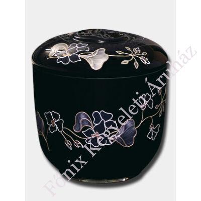 Opál üveg, girland díszítésű, fekete urna