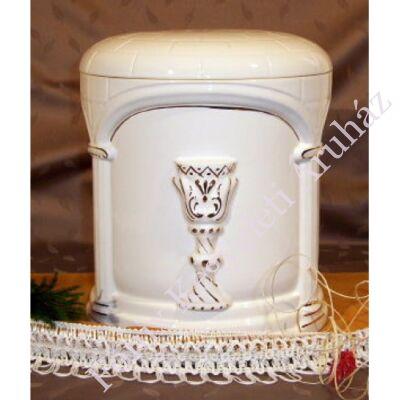Fehér kerek urna arany kehely