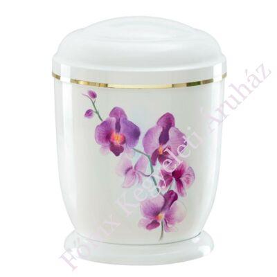 Fehér, orchideás fém urna