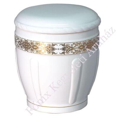 Fehér oszlopos urna arany mintával