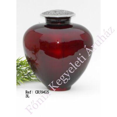 Különleges, vörös színű fém-üveg urna