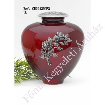 Rózsás fém rátéttel díszített vörös fém-üveg urna