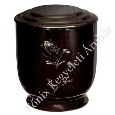 Fekete urna rózsával, kereszttel
