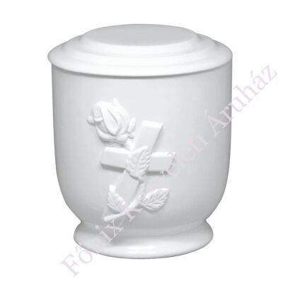 Fehér kerek matt urna rózsával, kereszttel