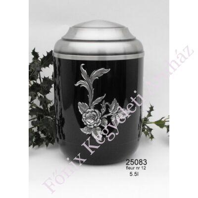 Rózsás fekete fém urna - 1-2 személyes