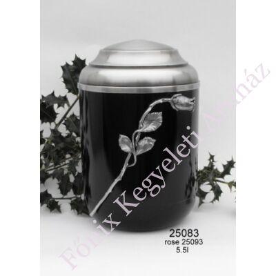 Rózsás fekete urna - felnőtt méret, 1-2 személyes