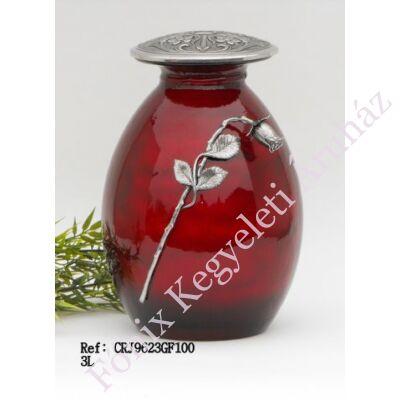 Különleges, vörös fém-üveg urna fém rózsaszállal