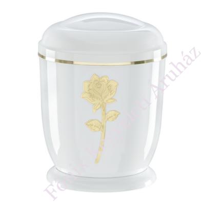 Fehér, arany rózsás fém urna