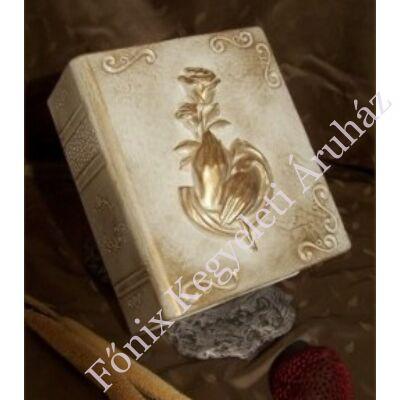Különleges, rózsás könyv urna - fehér