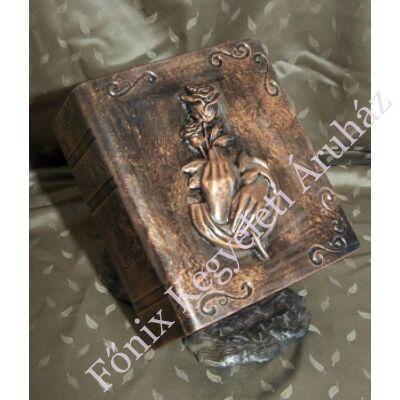 Különleges, rózsás könyv urna bronz színben