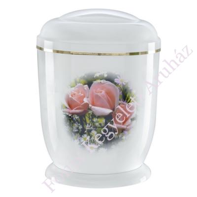 Fehér, rózsás fém urna