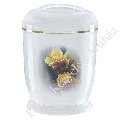 Fehér, sárga rózsás fém urna