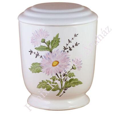 Fehér kerek urna százszorszéppel