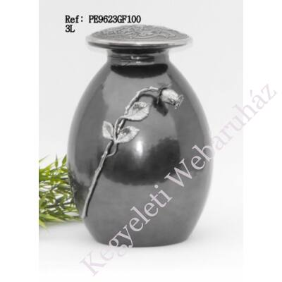 Ezüstszürke fém-üveg urna rózsaszál díszítéssel
