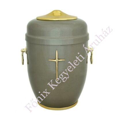 Keresztes szürke fém urna