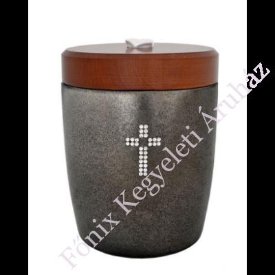 Szürke kerámia urna kristály keresztes
