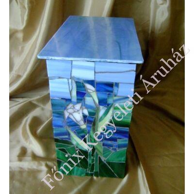 Kálás üvegmozaik urna - kékes-zöld
