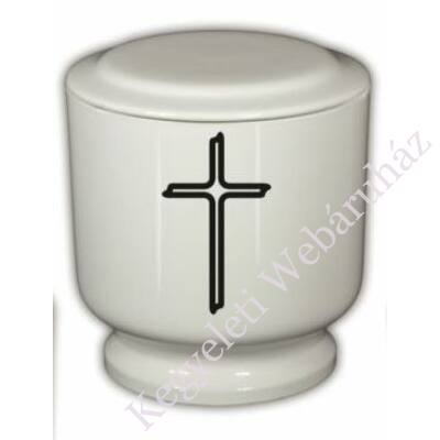 Egyszerű fehér, kerek urna kereszttel