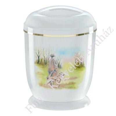 Fehér, vadászos fém urna