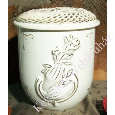 Vanda fonott kerámia urna rózsa kéz