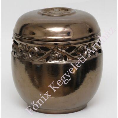 Bronz áttört, vésett kerámia urna