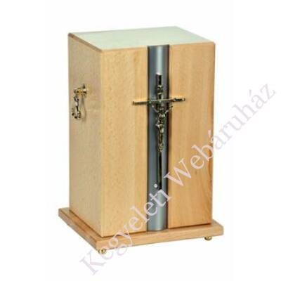 Fa álló urna, feszülettel - világos