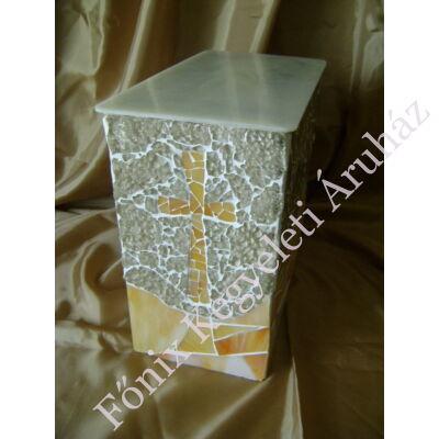 Keresztes üvegmozaik urna - bézs