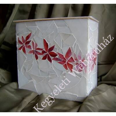 Virágfüzéres üvegmozaik urna - fehér-pink