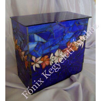 Virágfüzéres üvegmozaik urna - kék