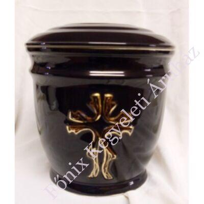 Fekete kerek urna stilizált kereszttel