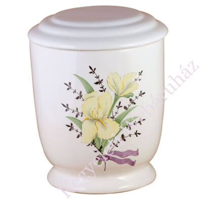 Fehér kerek urna festett virággal