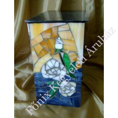 Fehér rózsás üvegmozaik urna