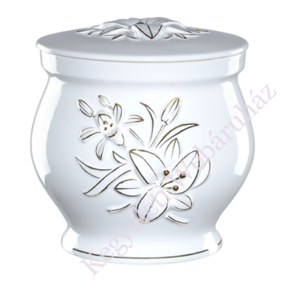 Fehér kerek urna liliommal